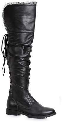 Ellie Women's 1 inch Heeled Over the Knee Black Pirate Boot Halloween Costume Accessory