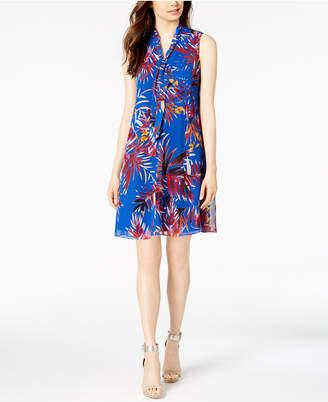 Calvin Klein Printed Tie-Neck Shift Dress
