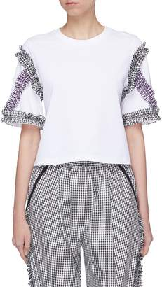 3.1 Phillip Lim Gingham check ruffle trim T-shirt
