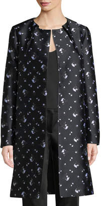 Zac Posen Button-Front Winter-Rose Jacquard Evening Jacket