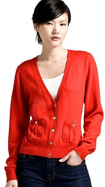 CARDIGAN by Lynne Hiriak Isabelle V-Neck Cardigan, Red