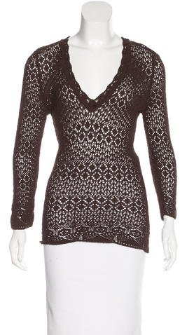 Dolce & Gabbana Dolce & Gabbana Open-Knit V-Neck Sweater