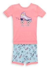 Petit Lem Little Girl's Two-Piece Rollerskate Printed Cotton Pajama Top and Shorts Set