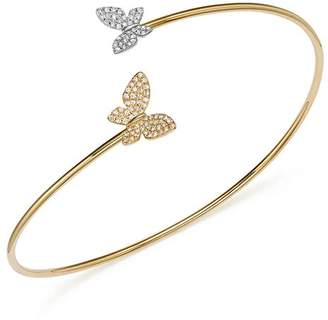 KC Designs Diamond Micro Pavé Butterfly Bangle in 14K Yellow and White Gold, .25 ct. t.w.