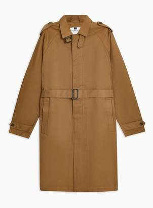 Topman Mens Brown Dark Tan Single Breasted Trench Coat