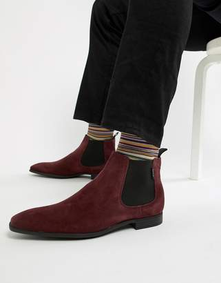 Paul Smith Falconer suede low chelsea boot in burgundy
