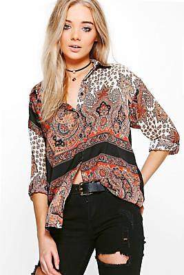 boohoo NEW Womens Paisley Printed Shirt in Polyester