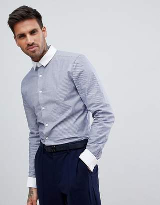 Asos Smart Stretch Slim Stripe Shirt With Contrast Collar And Double Cuffs