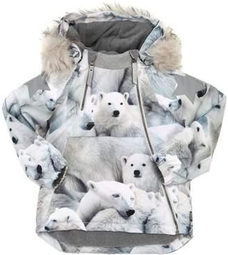 Molo Polar Bear Print Nylon Ski Down Jacket