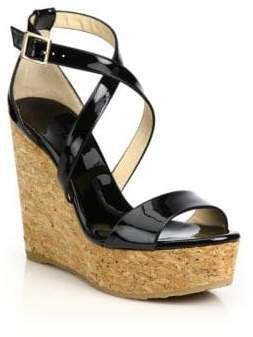 Jimmy Choo Portia 120 Patent Leather& Cork Platform Wedge Sandals