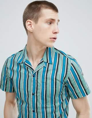 Stradivarius Short Sleeve Revere Shirt In Blue Stripe