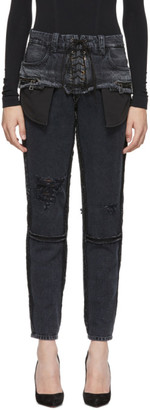 Unravel Black Double Layer Boysk Jeans