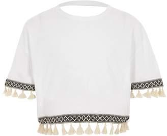 River Island Girls White short sleeve tassel trim T-shirt