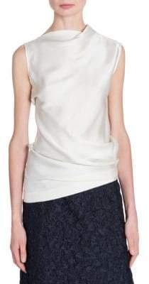 Jil Sander Asymmetric Satin Cap-Sleeve Blouse