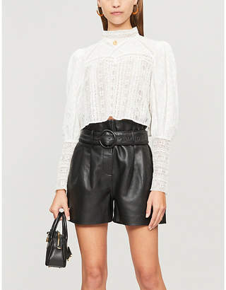 The Kooples Lace-panel cropped cotton blouse