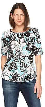 Caribbean Joe Women's Short Roll Sleeve Top