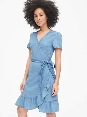 f43ff8f2f7 Gap Short Sleeve Ruffle Wrap Dress in TENCEL