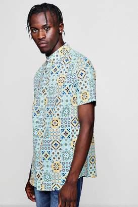 boohoo Tile Print Short Sleeve Shirt