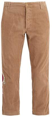 Gucci - Dragon Embroidered Cropped Corduroy Trousers - Mens - Camel