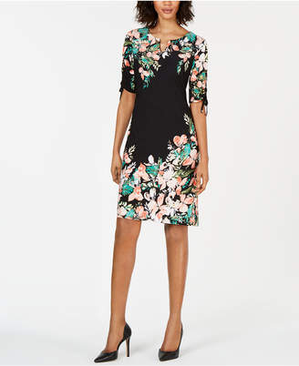 f54640e82d6 JM Collection Printed Ruched-Sleeve Dress
