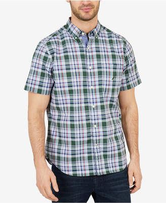 Nautica Men's Big & Tall Classic Fit Poplin Plaid Short Sleeve Shirt