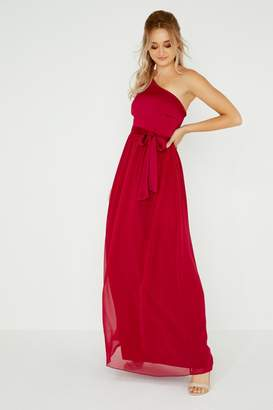 Little Mistress Pearl One Shoulder Satin Top Maxi Dress