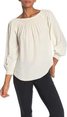 6855c38bfbd041 Go Silk Go by Go Smock Off the Shoulder Silk Top