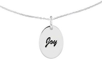 """Sterling Polished Oval Encouragement Pendant w/ 18"""" Chain"""