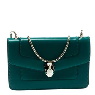 Bulgari Serpenti Green Leather Handbag