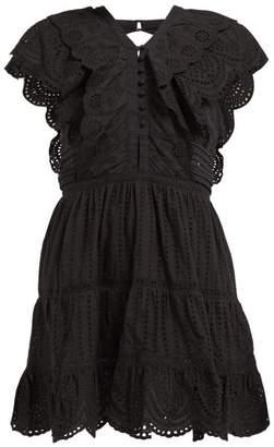 Leila Sir Ruffled Cotton Mini Dress - Womens - Black