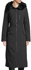 Soft Shell Faux-Fur Trim Hooded Long Jacket