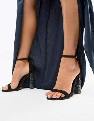 Missguided barely there glitter high block heeled sandal in black