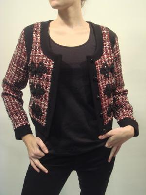 BECKERMAN red and black tweed cropped jacket