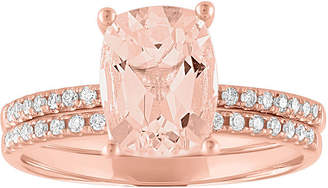 MODERN BRIDE Modern Bride Gemstone Womens Genuine Pink Morganite & 1/5 CT. T.W. Diamond 10K Rose Gold Bridal Set