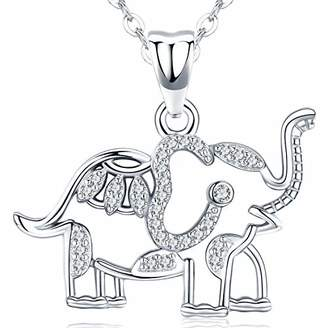 Aniu Elephant Pendant 925 Sterling Silver Necklace with Cubic Zirconia for Women and Grils