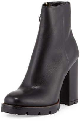 Prada Leather Chunky-Heel Ankle Boot, Black (Nero) $990 thestylecure.com