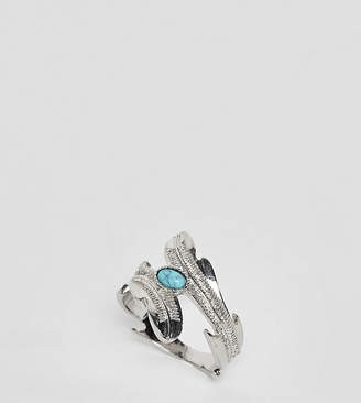 Asos DESIGN Curve exclusive wrap around ring with stone and leaf detail in silver
