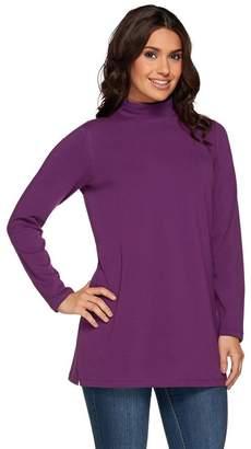 Denim & Co. Essentials Jersey Mock Neck Long Sleeve Tunic