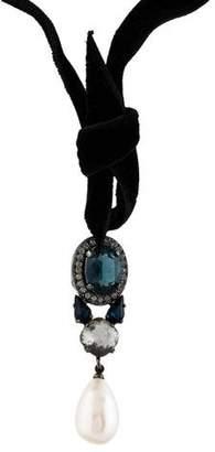 Lanvin Crystal & Velvet Choker Necklace