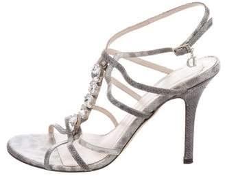 Christian Dior Embossed Embellished Sandals