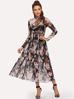 Shein Mock Neck Semi Sheer Pleated Floral Dress