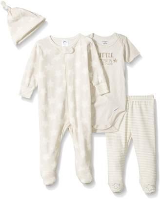 Gerber Baby Boys 4 Piece Sleep 'n Play, Onesies, Footed Pant and Cap Set