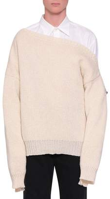 Raf Simons Fireman Buckle Oversized Wool Sweater