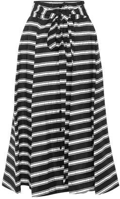Lisa Marie Fernandez Striped linen-blend midi skirt