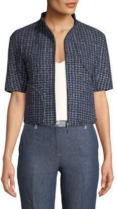 Emporio Armani 1/2-Sleeve Zip Front Tweed Jacket