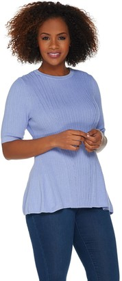 Isaac Mizrahi Live! Elbow Sleeve Mixed Stitch Peplum Sweater