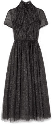 Emilia Wickstead Gabriel Ruched Glittered Tulle Dress - Black