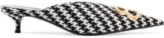 Balenciaga Knife Logo-embellished Houndstooth Wool Mules - Black