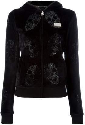 Philipp Plein velour crystal skull print hoodie