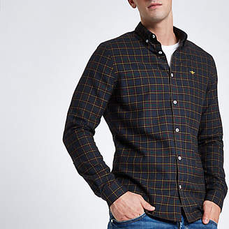 River Island Mens Navy wasp embroidered long sleeve check shirt